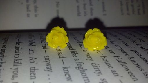 Custom Made Sale Sunny Yellow Rose Cabochon Post Earrings, Ready To Ship, Buy 2 Get 1 Free