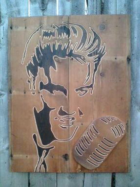 Custom Made Custom Wood Hand Engraved Abstract Celebrity Portrait