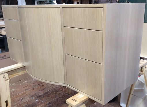 Custom Made Floating Whitewashed Oak Vanity With Curved Doors