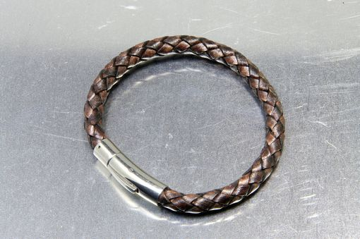 Custom Made Custom Engraved Leather Bracelet With Personalized Stainless Steel Clasp
