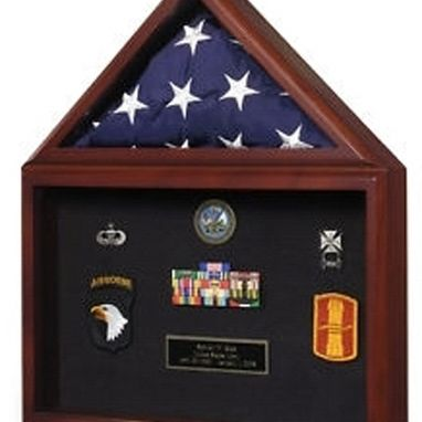 Custom Made Large Flag And Medal Display Case