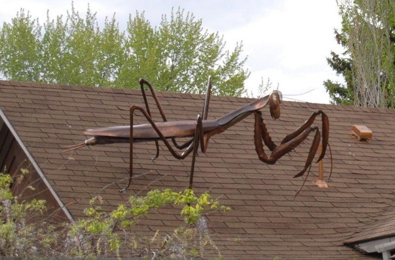 Handmade Large Praying Mantis Metal Sculpture By Jacob