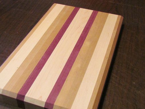 Custom Made Cherry, Maple And Purple Heart Cutting Board