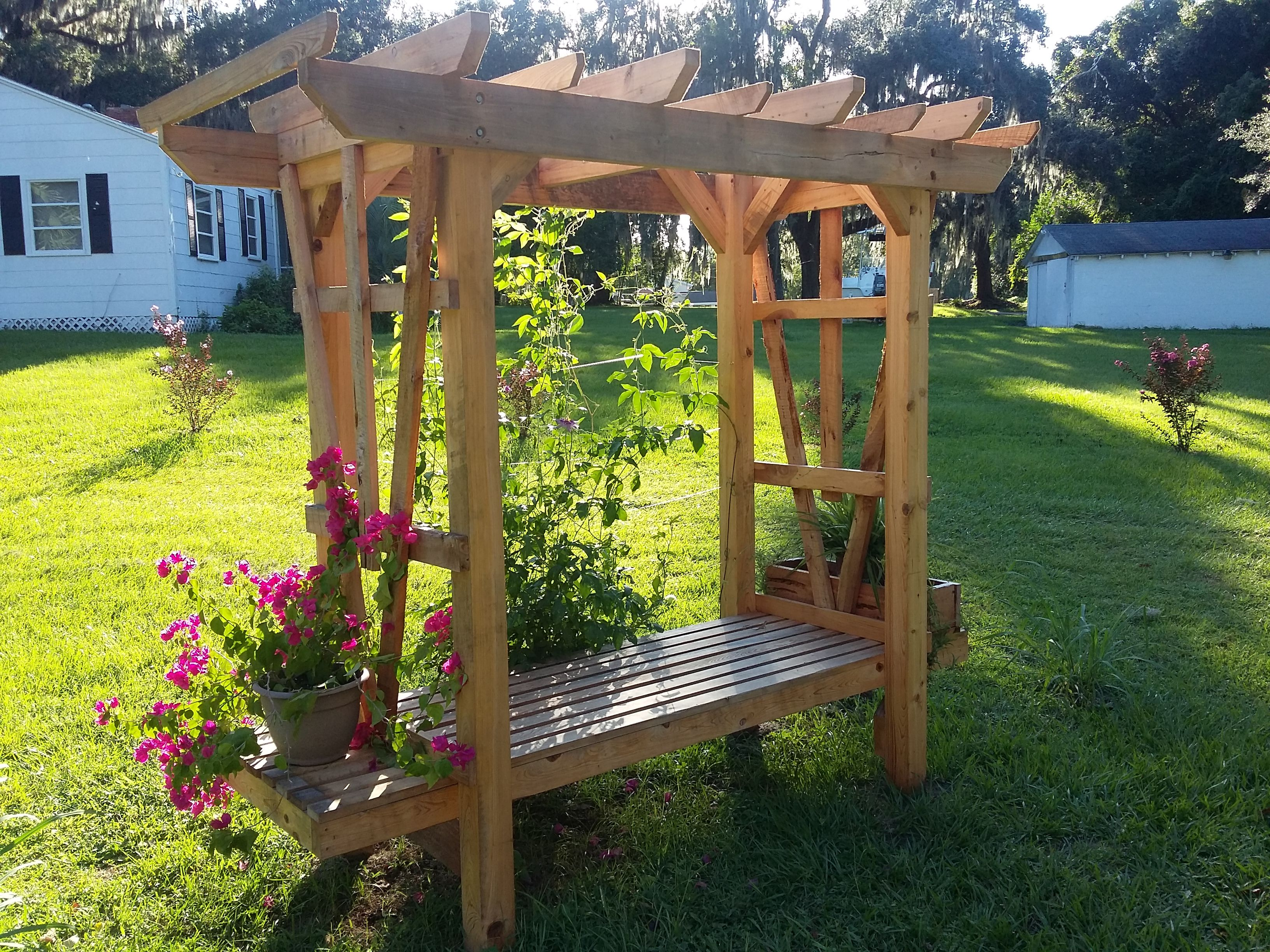 Buy A Hand Crafted All Cypress Arbor With Cedar Planter Boxes And