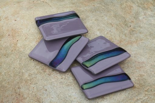 Custom Made Lilac Glass Coasters In Set Of 4