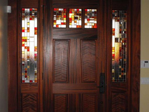 Custom Made Craftsman Style Leaded Glass Entry System