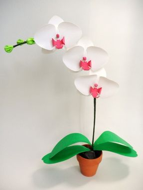 Custom Made Mini Paper Orchids - White And Pink