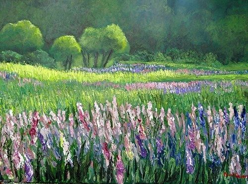 Custom Made Lupines At Sunset In Maine Usa On Canvas 24-36 Acrylic