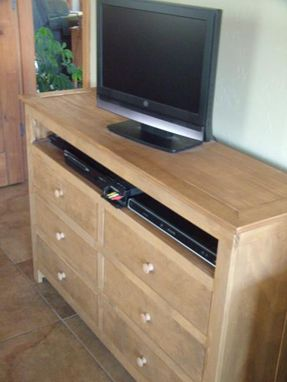 Custom Made Chest Of Drawers With Electronics Shelf