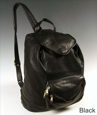 Custom Made Rucksack, Black Leather