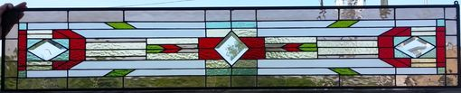"Custom Made Stained Glass Window - ""Mission With Bevels"" (W-107)"