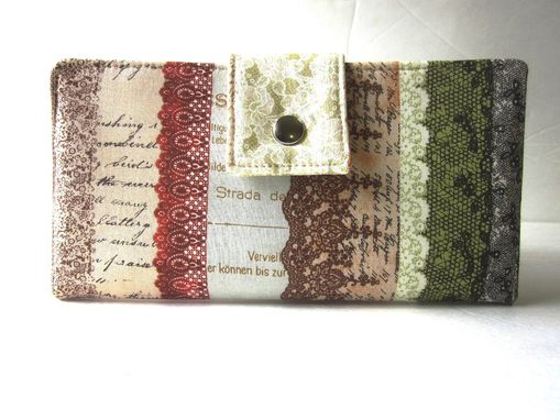 Custom Made Handmade Women Wallet Floral Lace, Letters With A Vintage Look