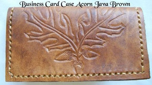 Custom Made Custom Leather Business Card Case With Acorns And In Java Brown