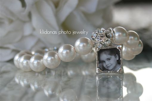 Custom Made Photo Wedding Bracelet With White Swarovski Pearls And Sparkling Rhinestones