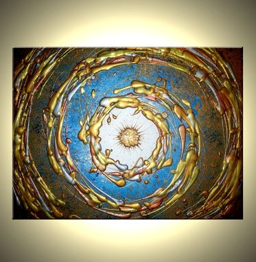 Custom Made Abstract Blue Art, Gold Painting,Textured Original Modern Painting On Sale By Dan Lafferty - 24 X 30