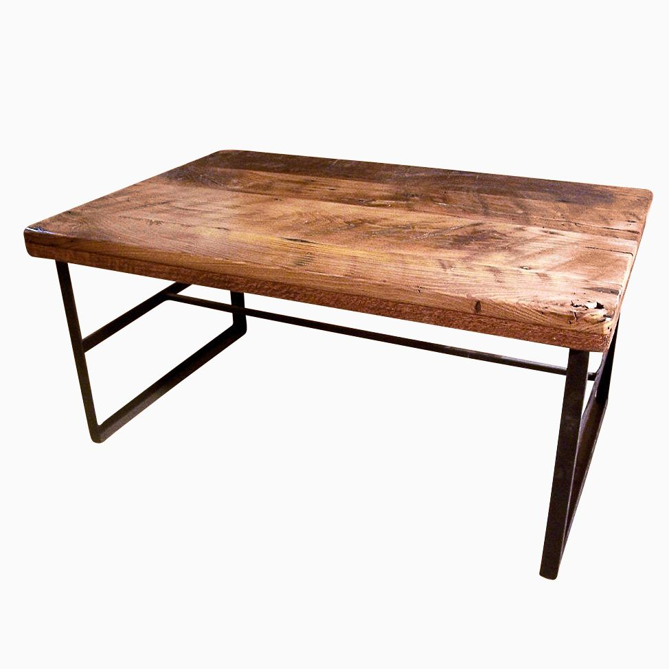 Custom Made Reclaimed Wormy Chestnut Coffee Table With Industrial Metal Base