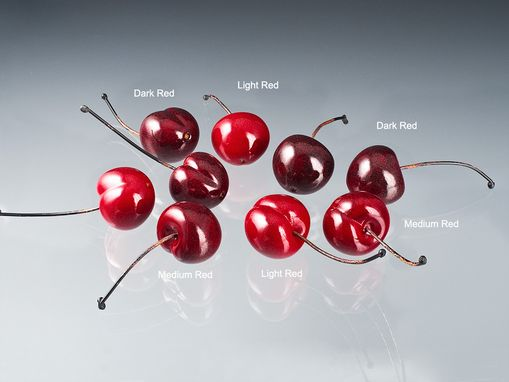 Custom Made Realistic Glass Bing Cherry Sculpture, Life-Sized
