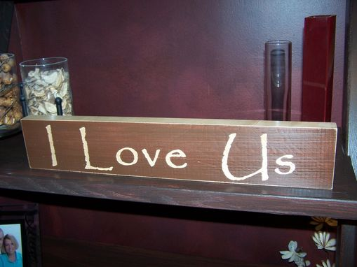 Custom Made Shelf Sitter - I Love Us - Brown