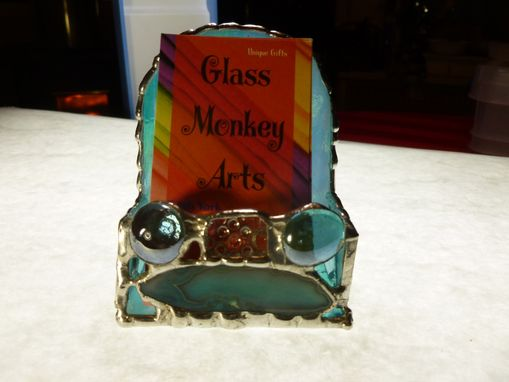 Custom Made Blue Iridescent Upright Stained Glass Business Card Holder