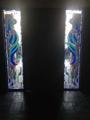 "Custom Made Stained Glass Windows - ""Iridescent Peacock Ii"" (W-97)"