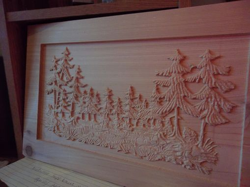 Custom Made Wall Plaque Of Woods Scene In Carved Cedar