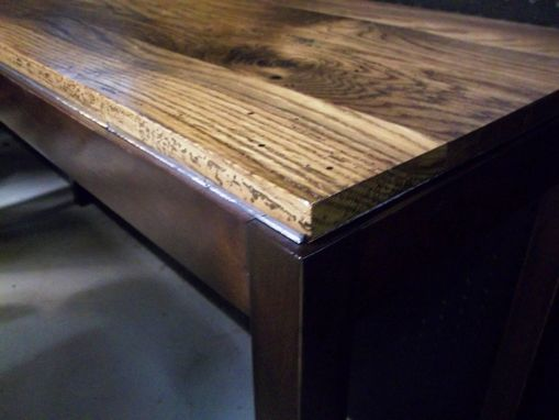 Custom Made Sofa/Console Table With Distressed Indiana Barn Oak Top And Mirror Accented Apron