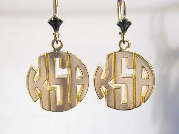 Custom Made 14k Gold Monogram Earrings