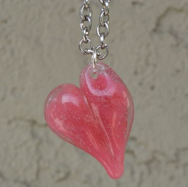 Custom Made Sterling Silver Chain Necklace With Pink Glass Heart Pendant