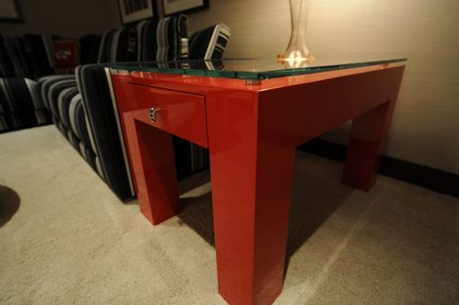 Custom Made Red Laquer End Tables