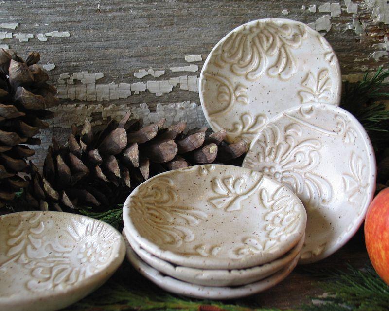 Handmade Pottery Prep Bowl Vanilla Bean Tea Bag Holder