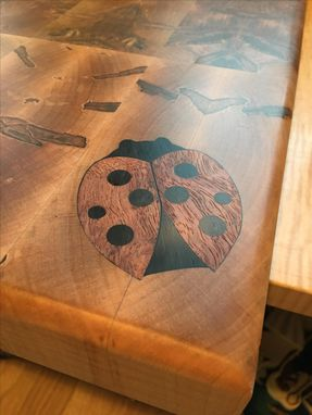 Custom Made Ambrosia Maple End Grain Cutting Board With Ladybug Inlay