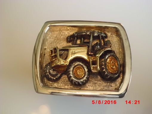 Custom Made Handmade Sterling, 18k Green, And 24k, 'John Deere' Men's 13 Ring