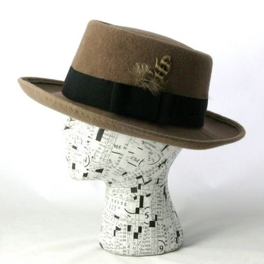 Custom Made Men's Gray Fawn Porkpie Hat Made To Order