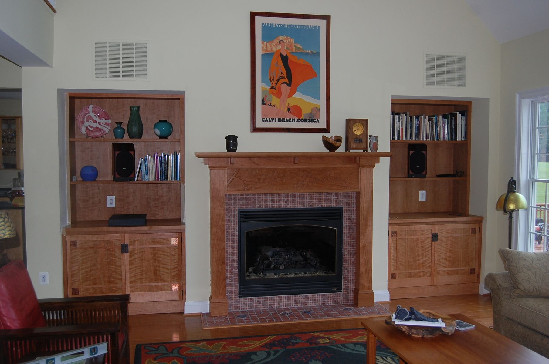 hand crafted cherry arts and crafts fireplace mantel by myrtle