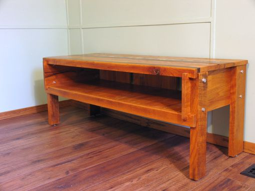 Custom Made Modern Reclaimed Oak Entertainment Stand