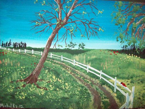 Custom Made Original Painting On Masonite Titled: Autumn Road With Red Bird