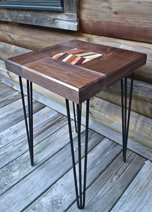 Custom Made Chevron Walnut Table, Reclaimed Wood End Table, Entry Way Table,  End - Hand Crafted Chevron Walnut Table, Reclaimed Wood End Table, Entry
