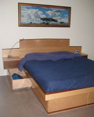 Custom Made Maple Platform Bed With Storage Drawers And Walnut Trim