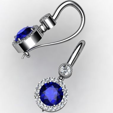 Custom Made Teardrop Earrings, Sapphire