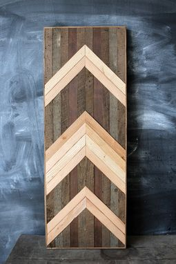 Custom Made Reclaimed Wood Chevron Wall Art Panel