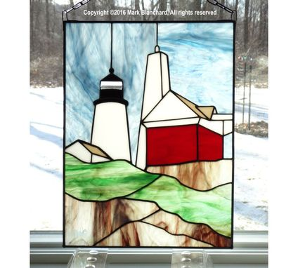 Custom Made Pemaquid Point Lighthouse Stained Glass Panel