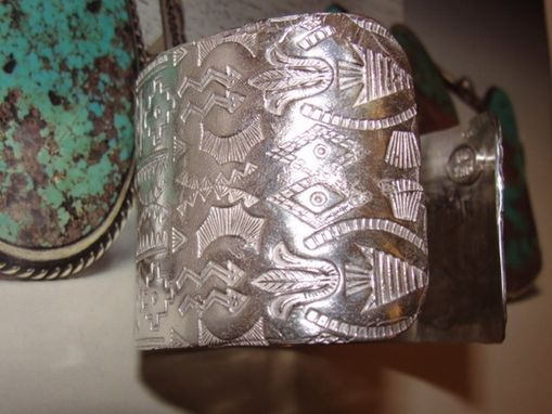 Custom Made Native American Inspired Cuff Bracelet With Zuni And Navajo Inspired Stamping Techniques Unisex