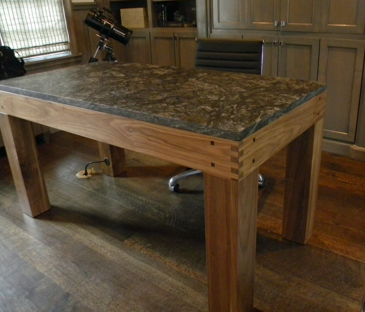 Hand Made Walnut Parsons Style Desk With Granite Top By North Texas Wood Works Custommade Com