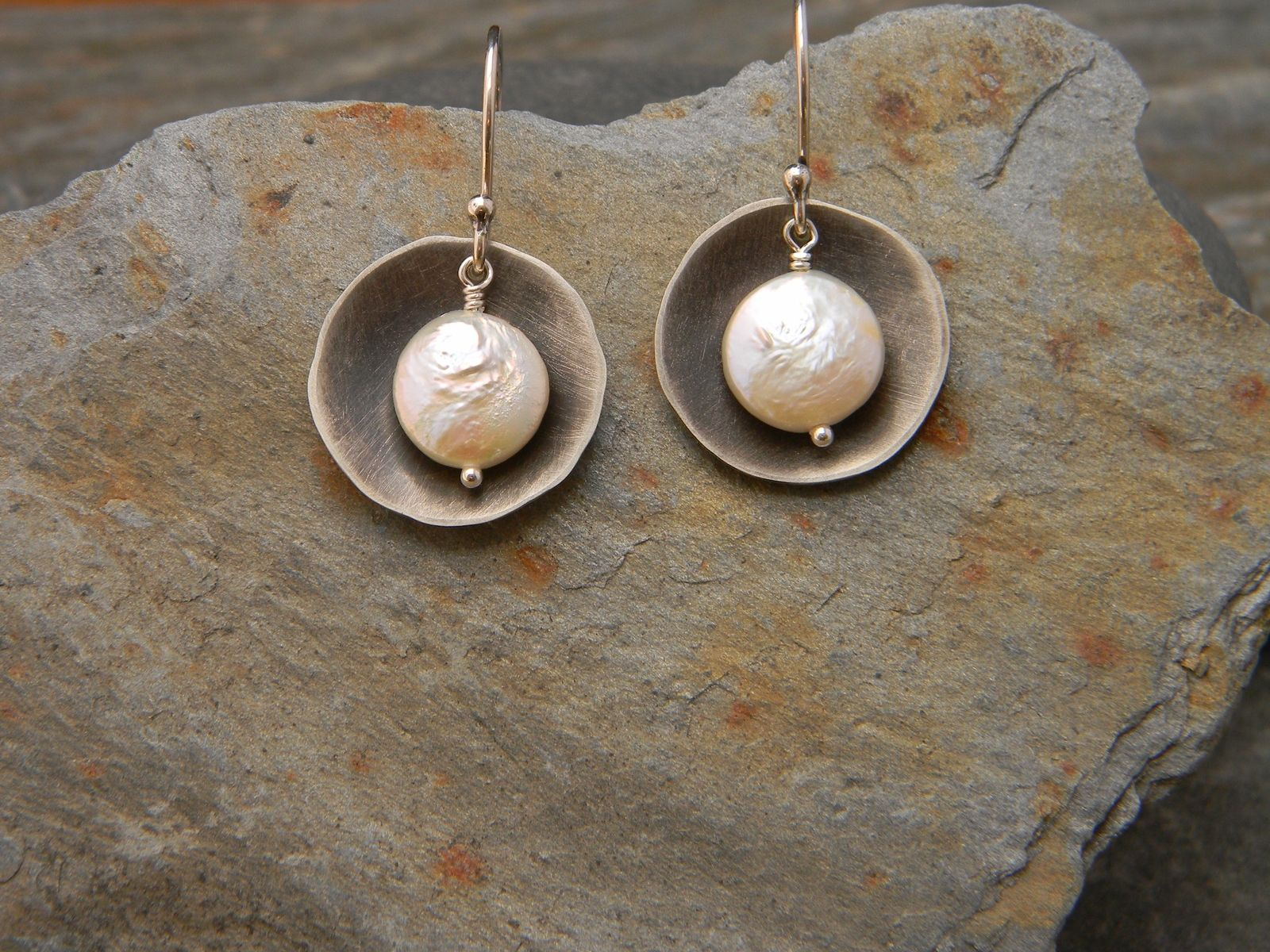 Custom Made Coin Pearl Earrings