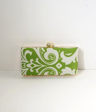 Custom Made Green Cotton Damask Clamshell Clutch Purse