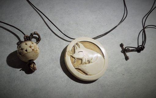 Custom Made Mammoth Ivory Hand Carved Fox Pendant