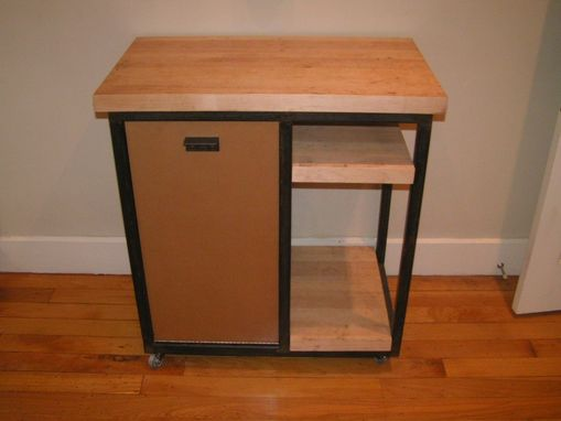 Custom Made Butcher Block Kitchen Cart With Trash Can Door
