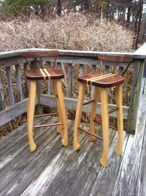 Custom Made Walnut And Maple Bar Stools