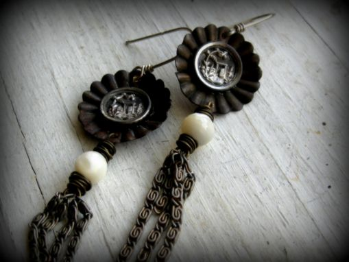 Custom Made Vintage Steel Button With Mother Of Pearl And Chain Earrings