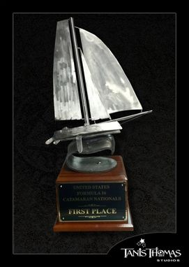 Custom Made Sailboat Trophy Table Top Decor